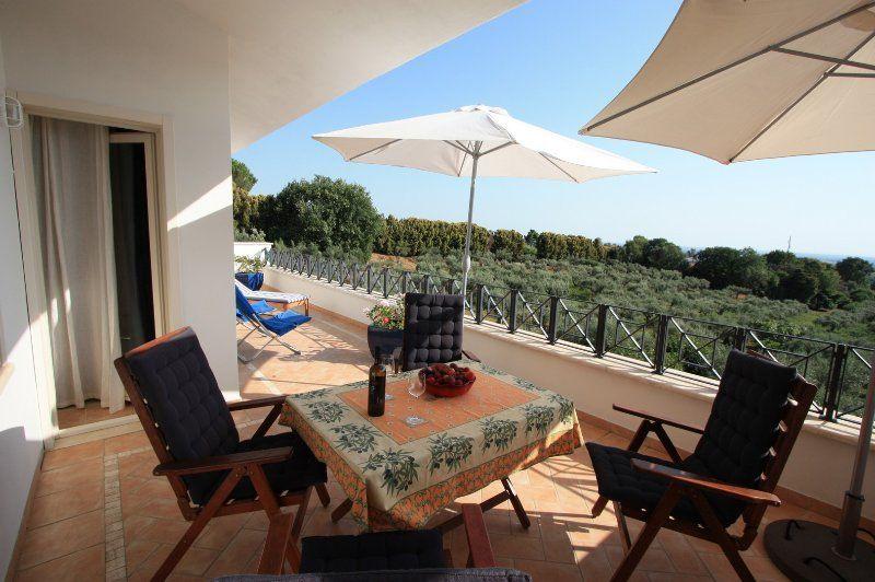 Apartamento en Roma, con una terraza panorámica, jardín y vistas al mar, olivar