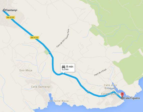 Cómo-llegar-de-Santanyí-a-Cala-Figuera