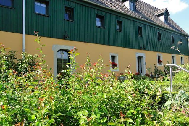 Farmhouse with terraces, fountains, cottage garden and mountain views