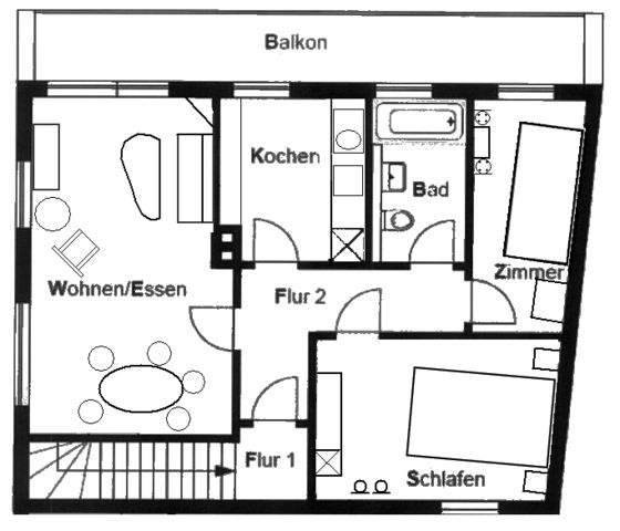 Unterkunft für 4 Personen mit Balkon